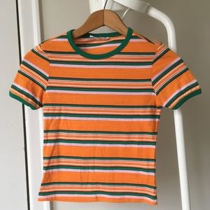 Blue notes retro striped belly tee small